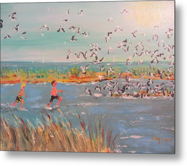 Running With The Gulls Metal Print