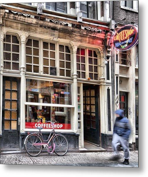 Rushing Past The Amsterdam Kafe Metal Print