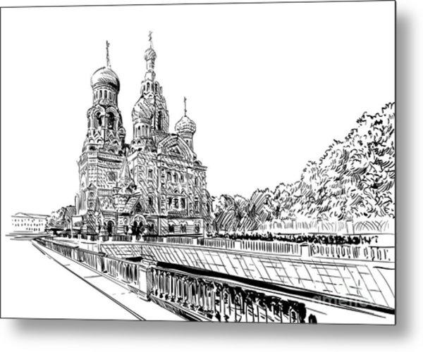 Russia. Saint Petersburg.savior On Metal Print