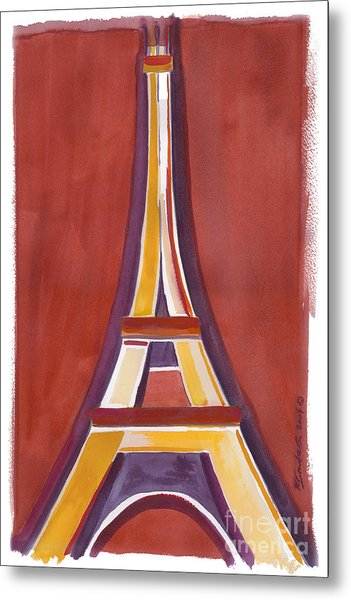 Rust Yellow Eiffel Tower Metal Print