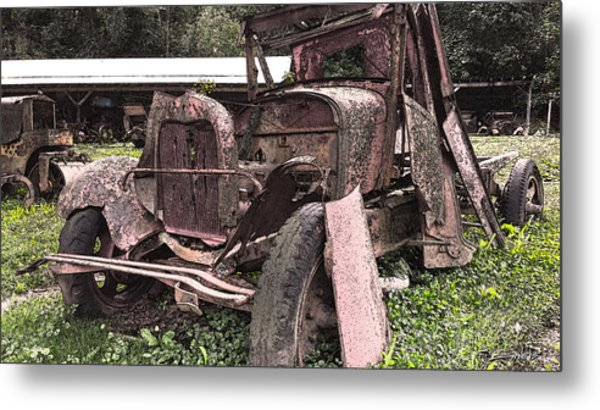 Rusted Pickup In Pieces Metal Print