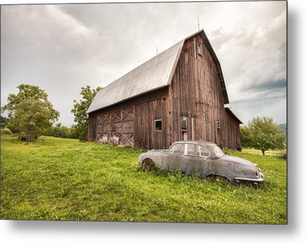 Metal Print featuring the photograph Rustic Art - Old Car And Barn by Gary Heller