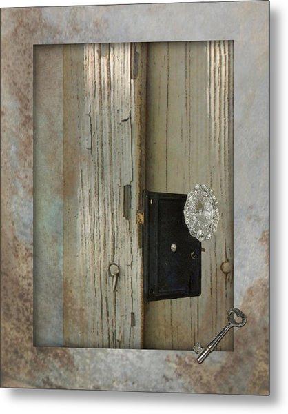 Rustic Glass Door Knob Metal Print