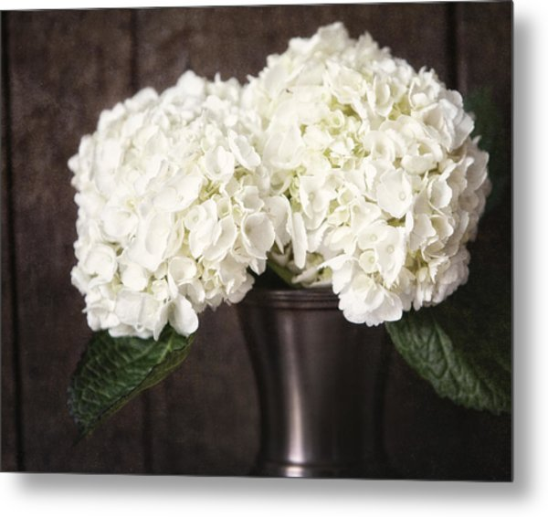 Rustic Hydrangea In A Bronze Vase With Barnwood Metal Print by Lisa Russo