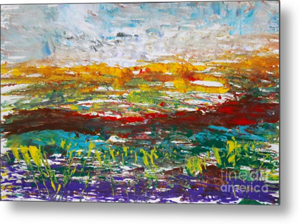 Rustic Landscape Abstract Metal Print