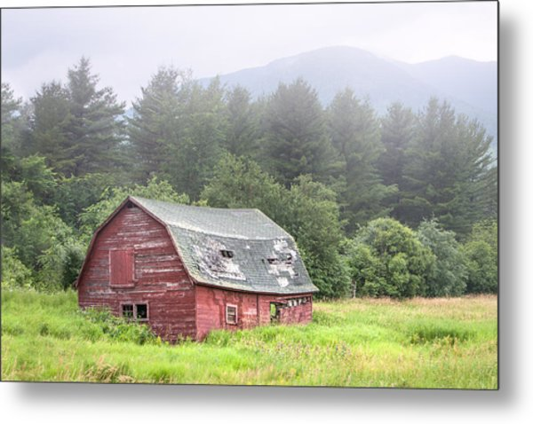 Rustic Landscape - Red Barn - Old Barn And Mountains Metal Print