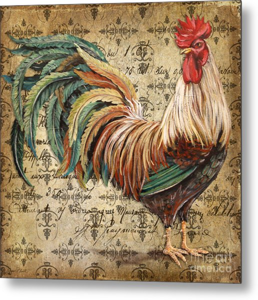 Rustic Rooster-jp2120 Metal Print