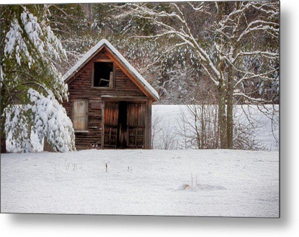 Rustic Shack In Snow Metal Print