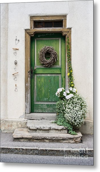 Rustic Wooden Village Door - Austria Metal Print