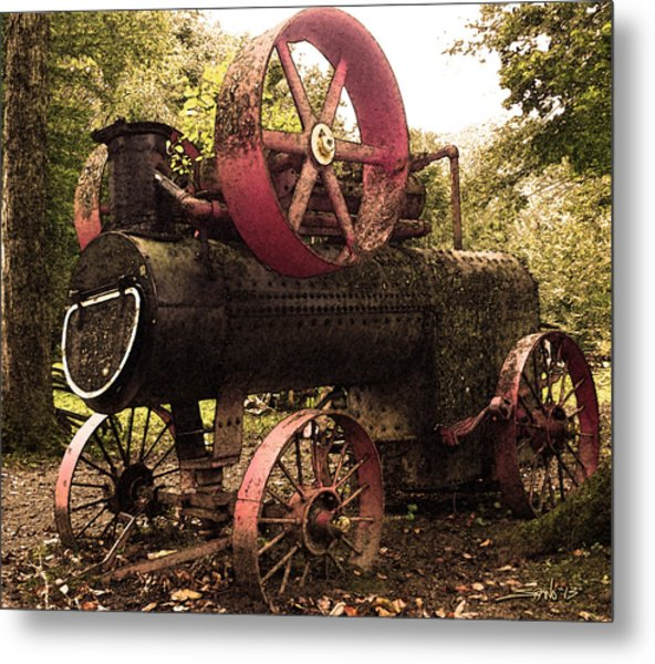Rusty Antique Steam Engine Metal Print
