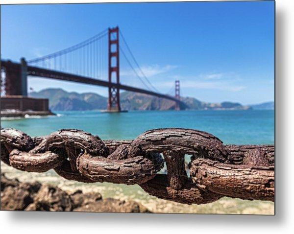Rusty Chains At Golden Gate Bridge, San Metal Print
