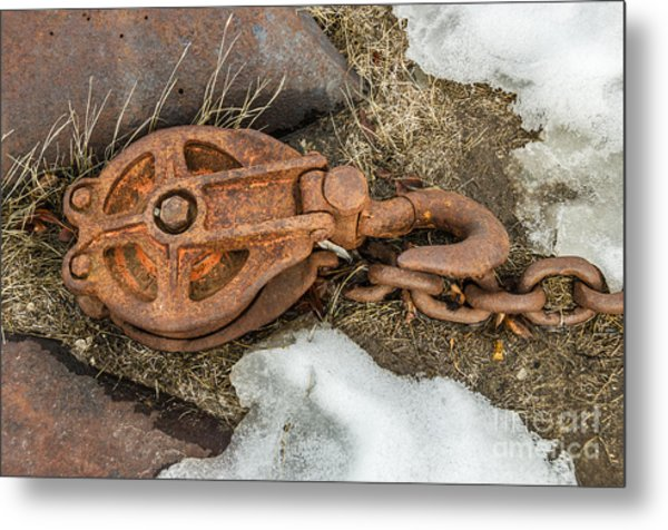 Rusty Pulley And Chain Metal Print