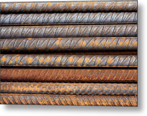 Rusty Rebar Rods Metallic Pattern Metal Print