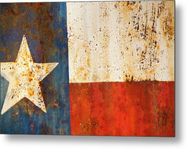 Rusty Texas Flag Rust And Metal Series Metal Print