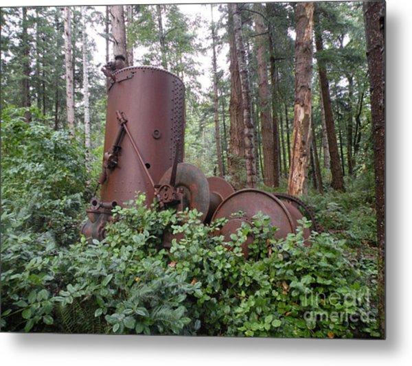 Rusty The Old Steamdonkey Metal Print by Val Carosella
