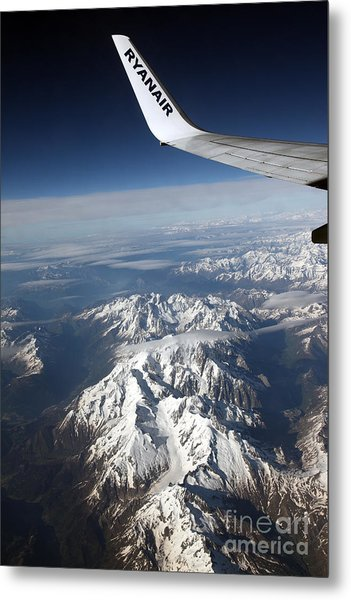 Ryanair Over The Alps Metal Print by Ros Drinkwater