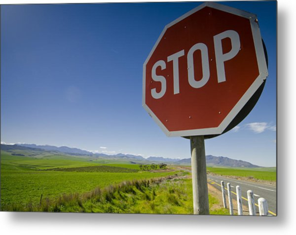 S T O P Metal Print by Aaron Bedell