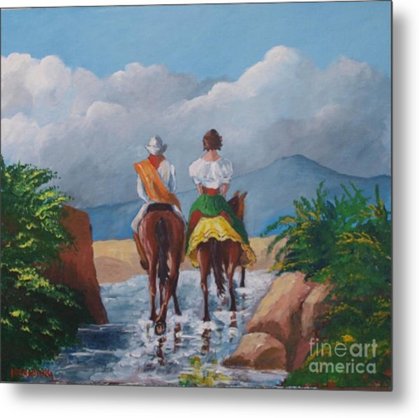 Sabanero And Wife Crossing A River Metal Print