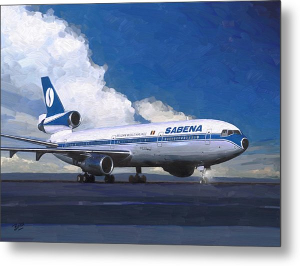 Sabena Dc-10 At Kinshasa Metal Print