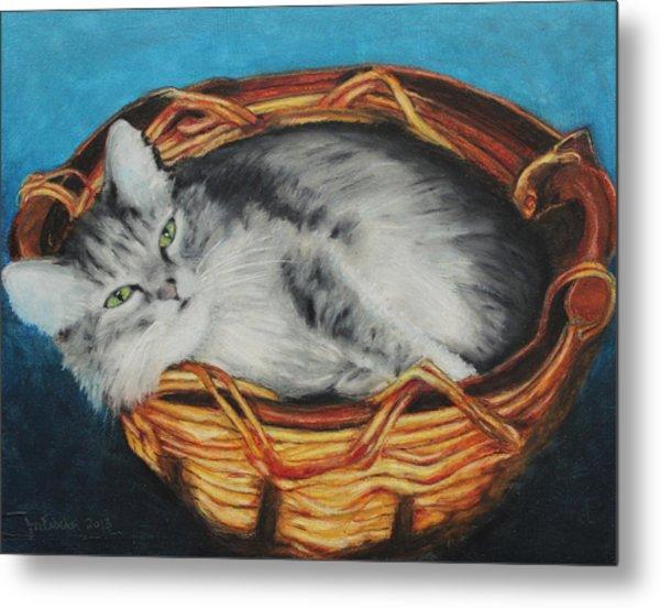 Sabrina In Her Basket Metal Print