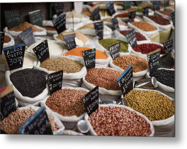 Sacks Of Beans And Grains In Market Metal Print by Ktsdesign/science Photo Library