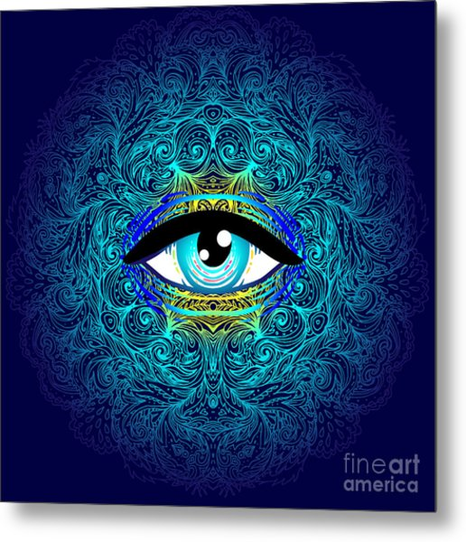 Sacred Geometry Symbol With All Seeing Metal Print
