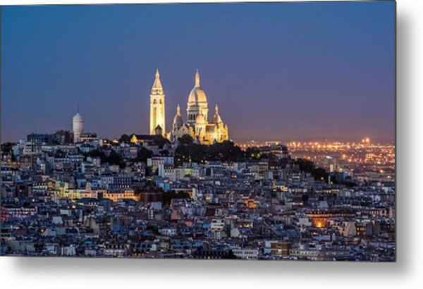 Sacred Heart At The Summit Of Montmartre Paris Metal Print