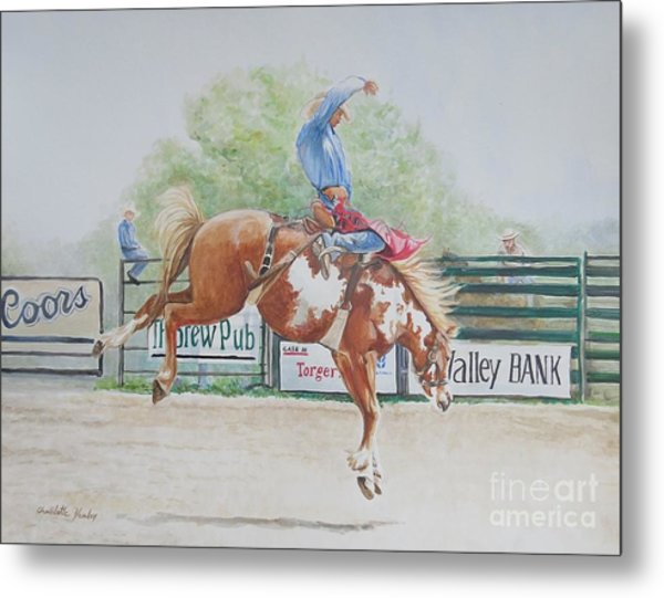 Saddle Bronc Metal Print by Charlotte Yealey