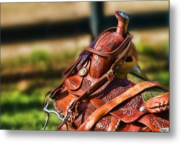 Saddle In Waiting Western Saddle Horse Metal Print