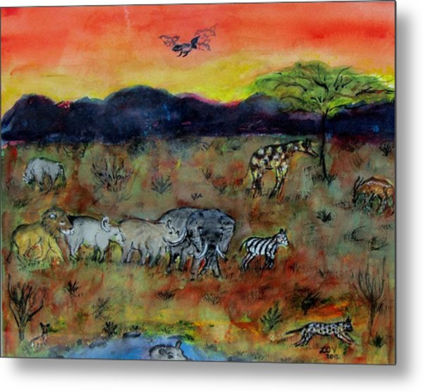 Safari In The Masia Mara Metal Print