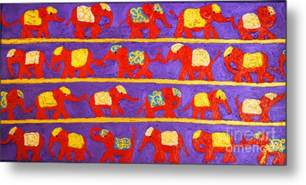 Saffron Elephants Metal Print