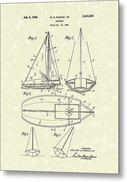 Metal Print featuring the drawing Sailboat 1948 Patent Art by Prior Art Design