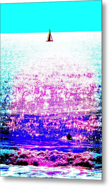 Sailboat And Swimmer -- 2d Metal Print by Brian D Meredith