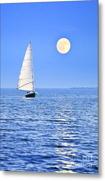 Sailboat At Full Moon Metal Print