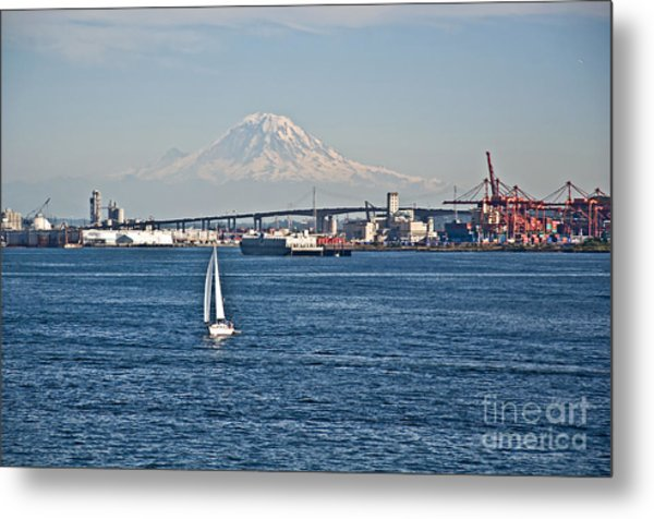 Sailboat Foreground Mt Rainier Washington Landscape Metal Print