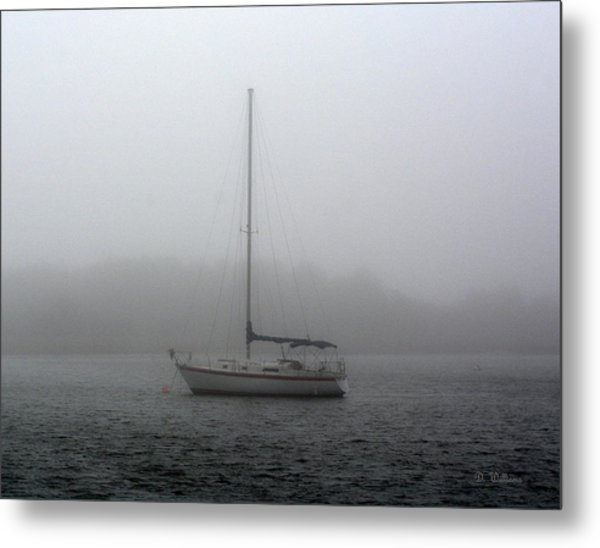 Sailboat In The Fog Metal Print
