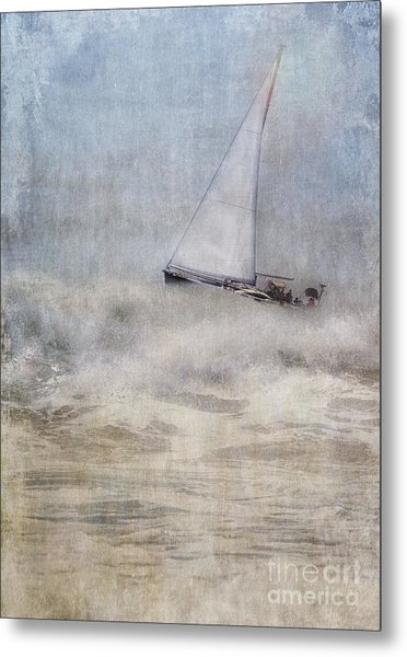 Sailboat On High Seas Metal Print