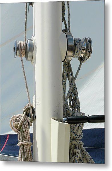Sailboat Parts Close Up Metal Print
