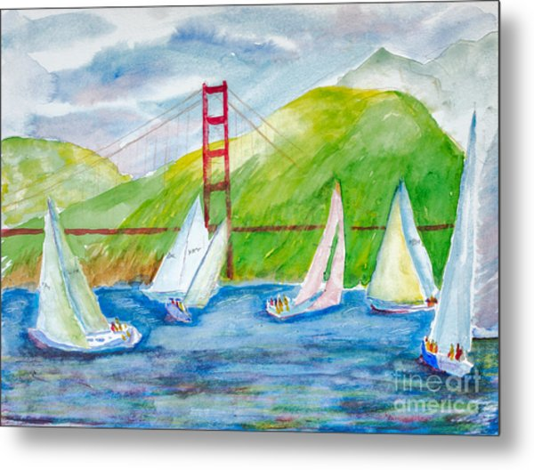 Sailboat Race At The Golden Gate Metal Print