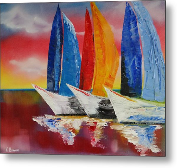 Metal Print featuring the painting Sailboat Reflections by Kevin  Brown