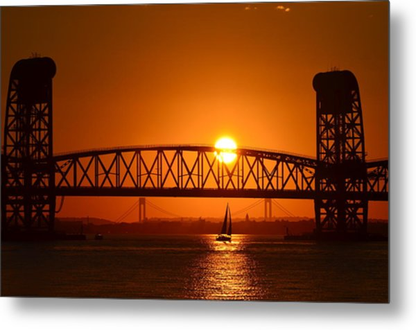 Sailboat Under Marine Park Bridge Metal Print
