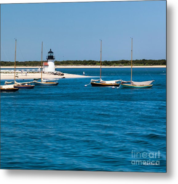 Sailboats And Brant Point Lighthouse Nantucket Metal Print