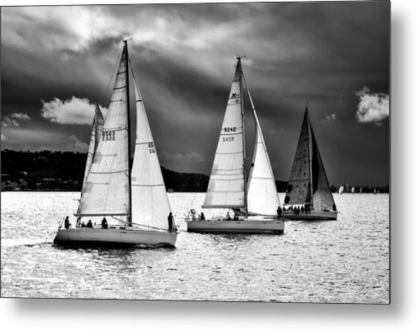 Sailboats And Storms Metal Print