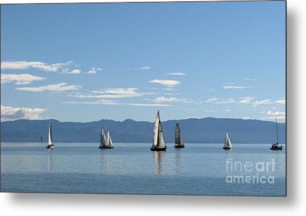 Sailboats In Blue Metal Print
