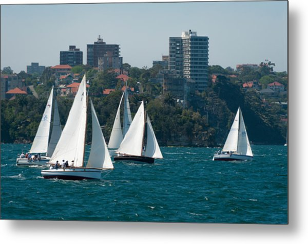 Sailboats In The Sea With City Metal Print