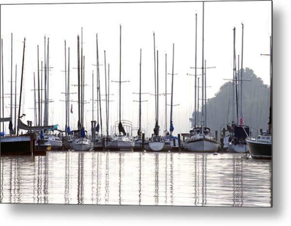 Sailboats Reflected Metal Print
