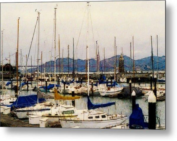 Sailboats Watercolor Metal Print