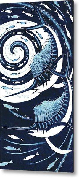 Sailfish, 2013 Woodcut Metal Print