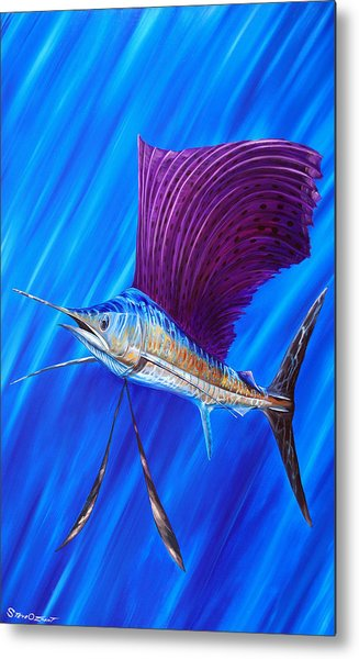 Metal Print featuring the painting Sailfish by Steve Ozment