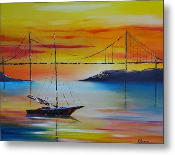 Sailing At Sunset Metal Print